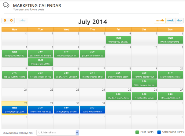 Monthly Content Marketing Calendar