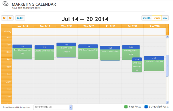 Weekly Content Marketing - Calendar Post